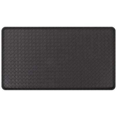 Classic Basketweave Black 20 in. x 36 in. Comfort Kitchen Mat