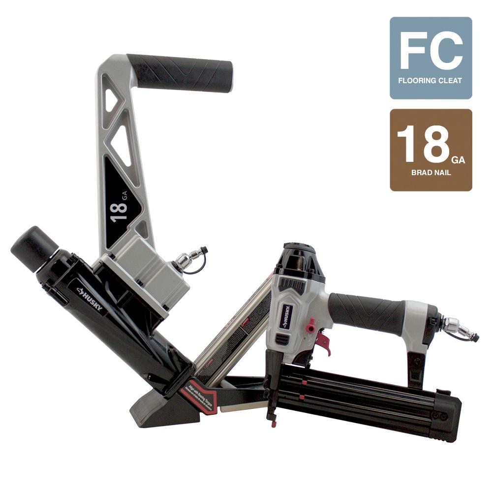 Pneumatic 18-Gauge Engineered and Exotic Hardwood Flooring Nailer and Brad Nailer Combo Kit (2-Piece)