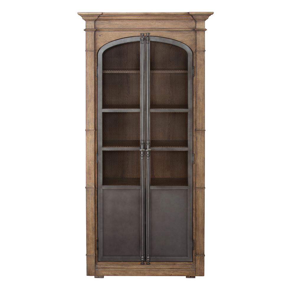 Homefare Door Light Oak Display Cabinet Brown Metal