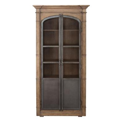 Homefare Metal Door Light Oak Display Cabinet