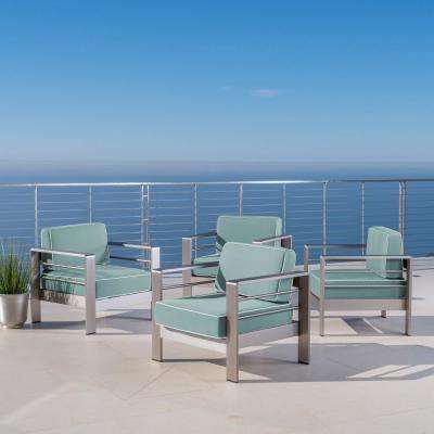 Cape Coral Silver Arm Aluminum Outdoor Lounge Chair with Sunbrella Blue Cushions (4-Piece)