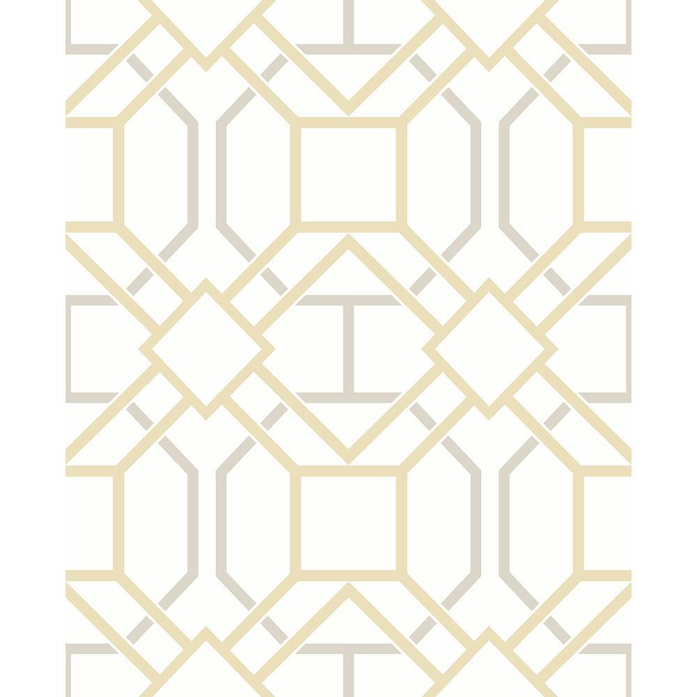 Advantage 56.4 sq. ft. Dauphin Mustard Lattice Wallpaper 2809-87706