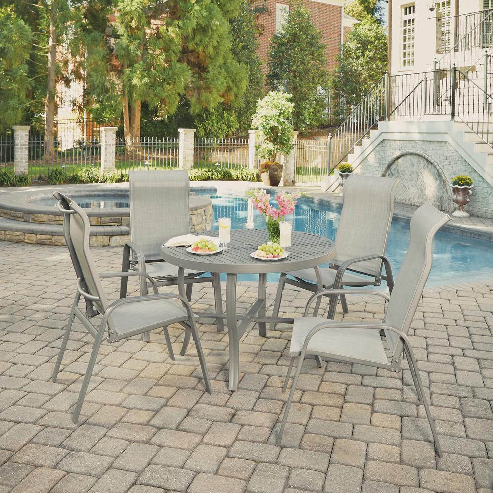 Daytona Charcoal Gray 5-Piece Aluminum Round Outdoor Dining Set