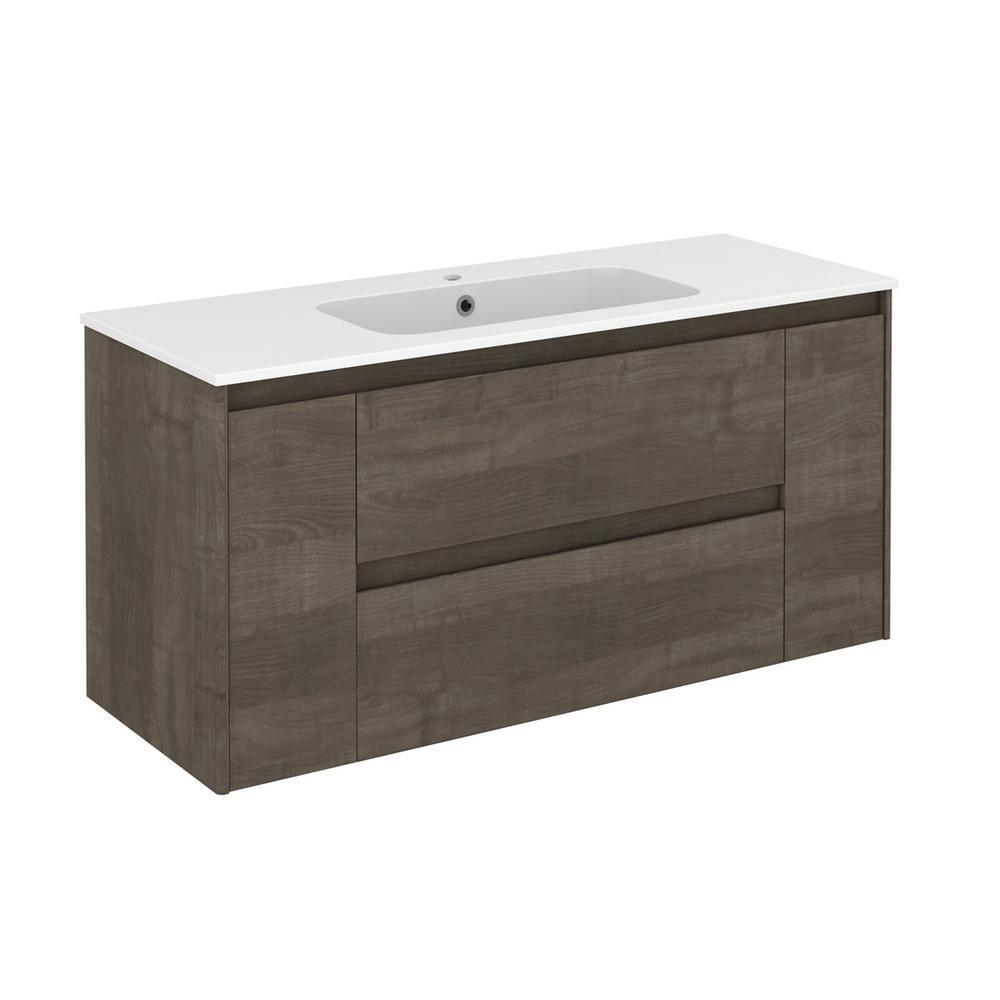 Ambra 47.5 in. W x 18.1 in. D x 22.3 in. H Bathroom Vanity Unit in Samara Ash with Vanity Top and Basin in White