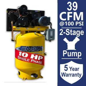 Click here to buy EMAX Industrial PLUS Series 120 Gal. 10 HP 1-Phase 2-Stage Vertical Electric Air Compressor by EMAX.