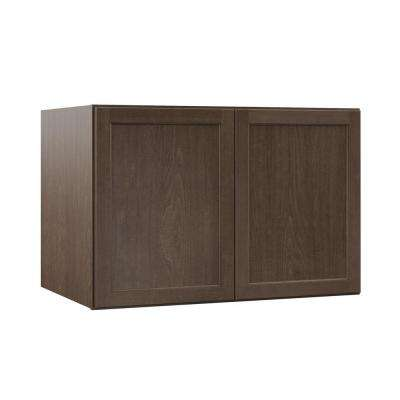 Shaker Assembled 36x24x24 in. Above Refrigerator Deep Wall Bridge Kitchen Cabinet in Brindle