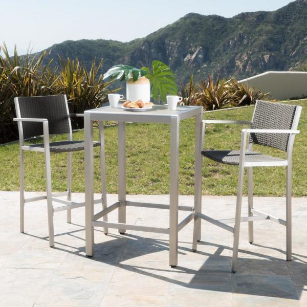 Noble House Cape Coral Silver 3 Piece Aluminum Square Outdoor Bar Height Bistro Set 12451 The Home Depot