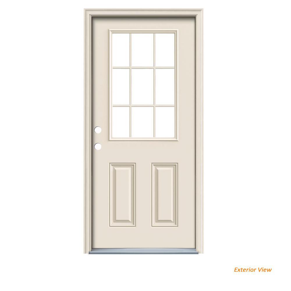 JELD-WEN 36 in  x 80 in  9 Lite Primed Fiberglass Prehung Right-Hand  Inswing Front Door