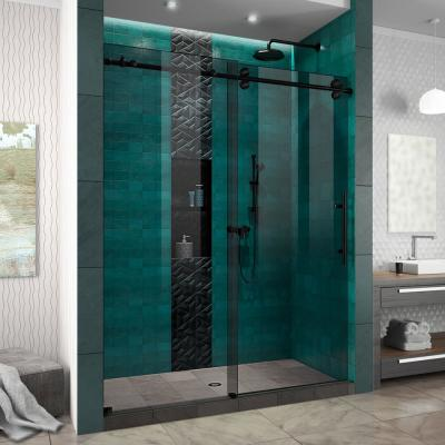Enigma-XO 56-60 in. W x 76 in. H Frameless Smoke Grey Glass Sliding Shower Door in Satin Black Stainless Steel