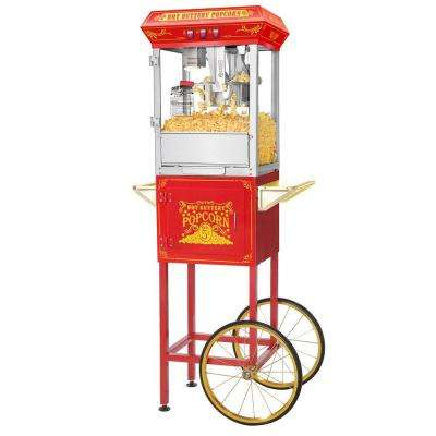 Popcorn Red Good Time 8 oz. Popcorn Popper Machine with Cart