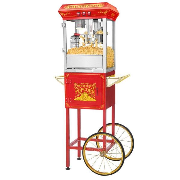 Great Northern Popcorn Red Good Time 8 oz. Popcorn Popper Machine with Cart