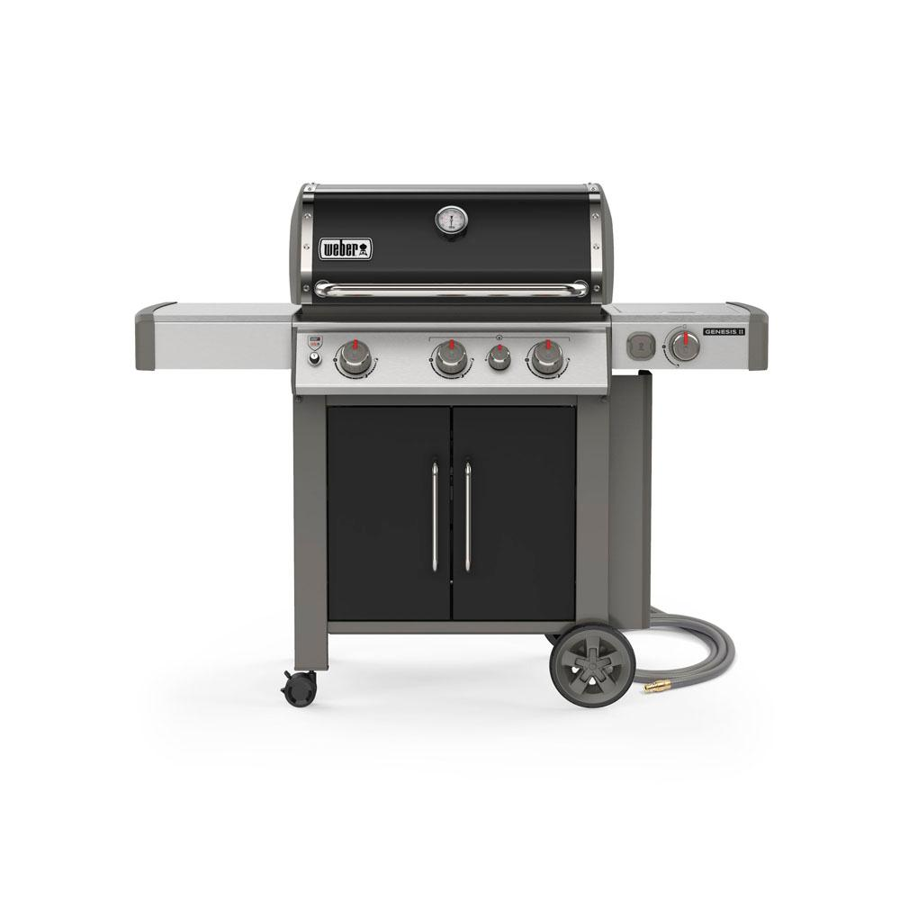 Weber Natural Gas Bbq.Weber Genesis Ii E 335 3 Burner Natural Gas Grill In Black With Built In Thermometer And Side Burner