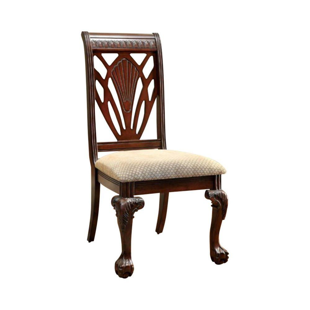 Brown and Beige 2-Piece Traditional Wooden Side Chair with Fabric Upholstered Seat
