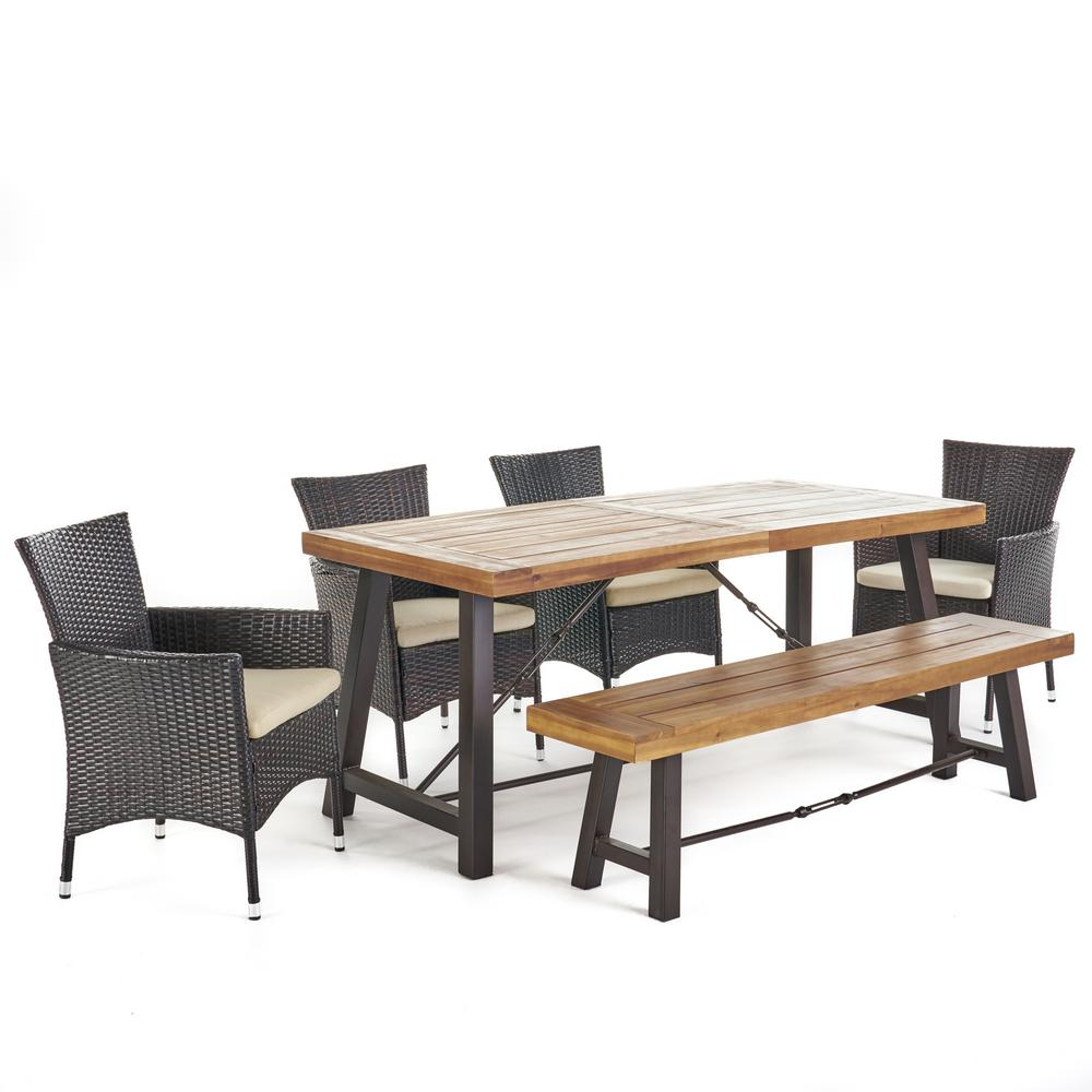 Nikolai 6 piece acacia wood rectangular outdoor dining set with bench and beige cushions