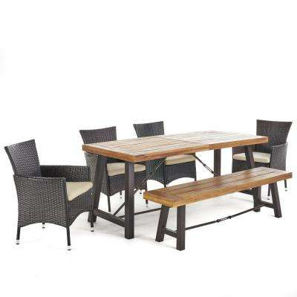 Nikolai 6-Piece Acacia Wood Rectangular Outdoor Dining Set with Bench and Beige Cushions