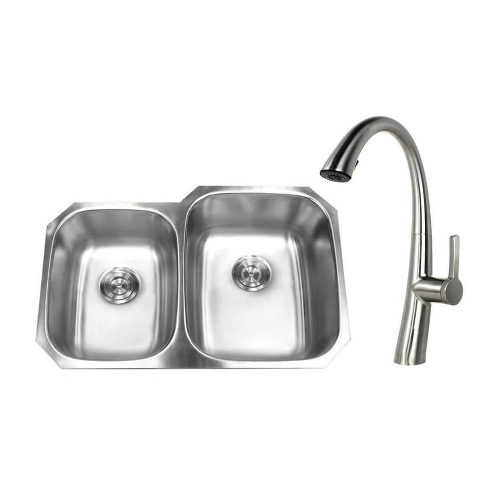 Undermount Stainless Steel 32 in. 40/60 Double Bowl Kitchen Sink with