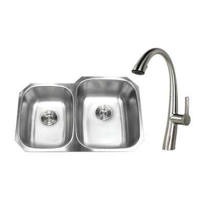 Undermount Stainless Steel 32 in. 40/60 Double Bowl Kitchen Sink with Faucet Brushed Nickel