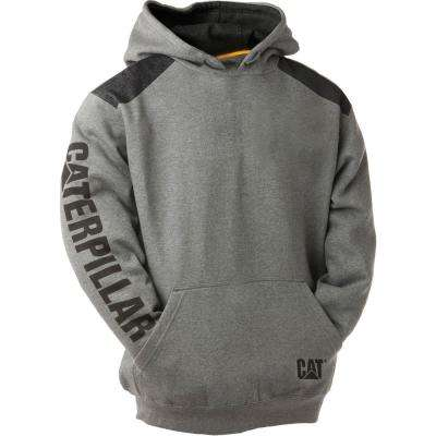 Logo Panel Men's Size Large Dark Heather Grey Cotton/Polyester Hooded Sweatshirt