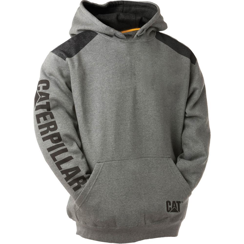 Caterpillar Logo Panel Men's Size 4X Large Dark Heather Grey CottonPolyester Hooded Sweatshirt