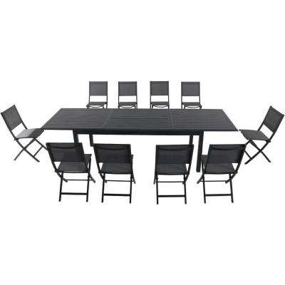 Bryn 11-Piece Aluminum Outdoor Dining Set with 10-Folding-Sling Chairs and an Expandable 40 in. x 118 in.  in. Table