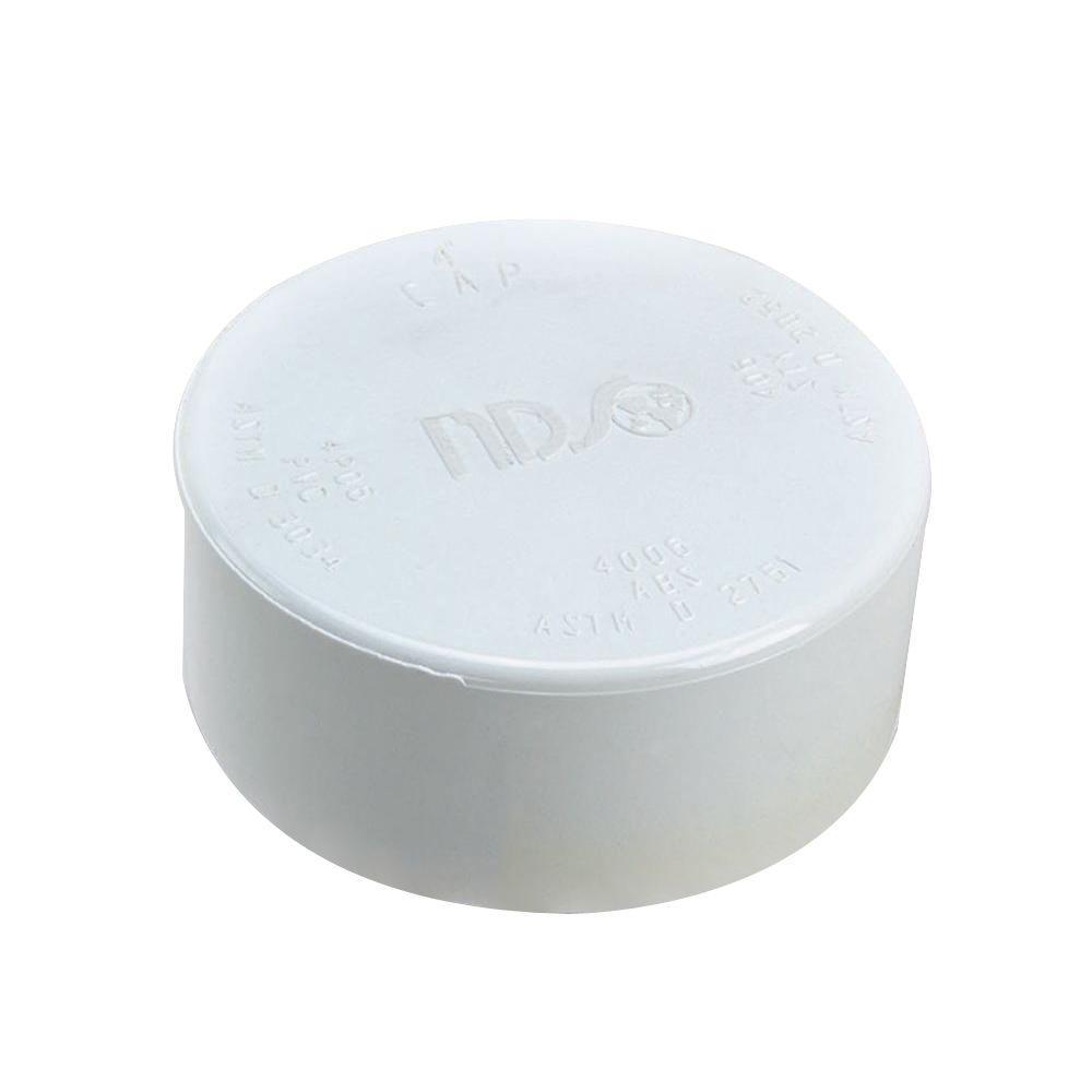 NDS 4 in. Styrene Drain Cap in White