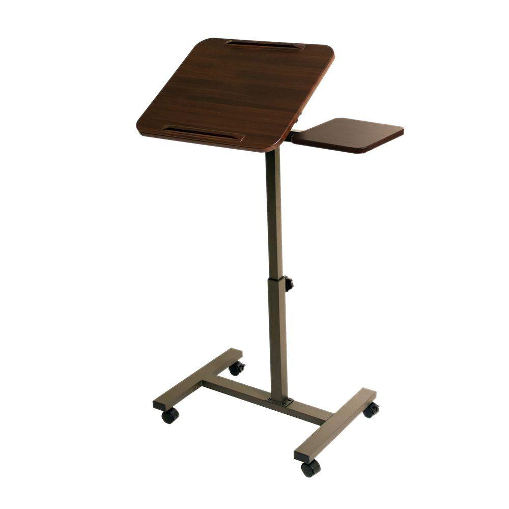 Seville Classics Walnut Laptop Desk With Wheels Web234
