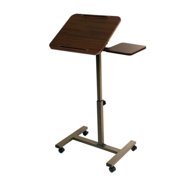 AIRLIFT Walnut Tilting Laptop Computer Desk Cart With Mouse Pad Table  Adjustable Height Range 27.5 In To 40 In