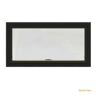 48 in. x 20 in. W-2500 Series Bronze Painted Clad Wood Awning Window w/ Natural Interior and Screen