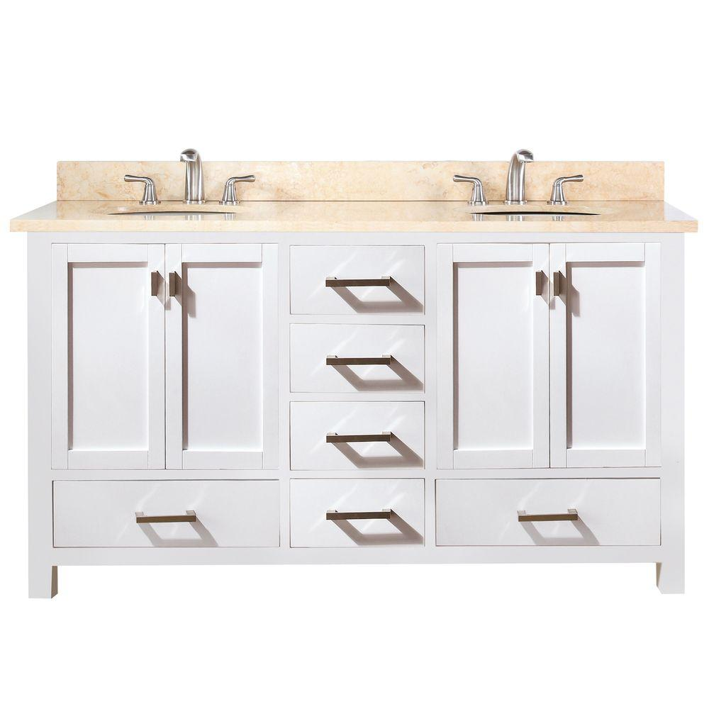 Double Vanity White Marble Vanity Top Beige White Basins