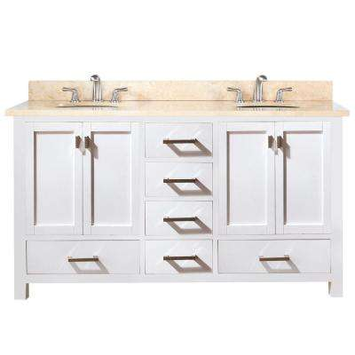 Modero 61 in. W x 22 in. D x 35 in. H Double Vanity in White with Marble Vanity Top in Galala Beige and White Basins