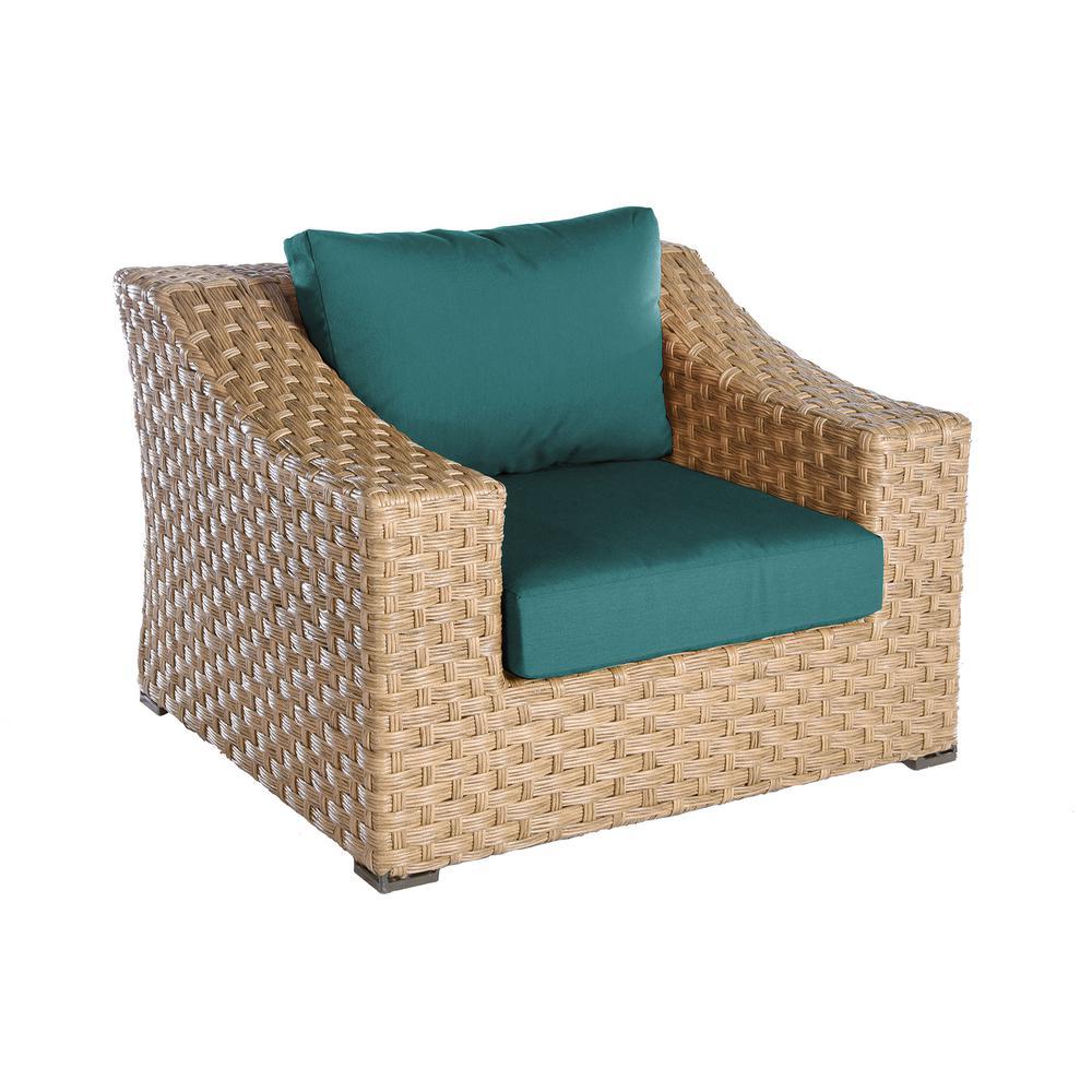 Elizabeth 1-Piece Wicker Patio Seating Set with Spectrum-Peacock Cushion