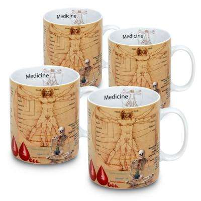 Konitz 4-Piece Mug of Knowledge Medicine Porcelain Mug Set