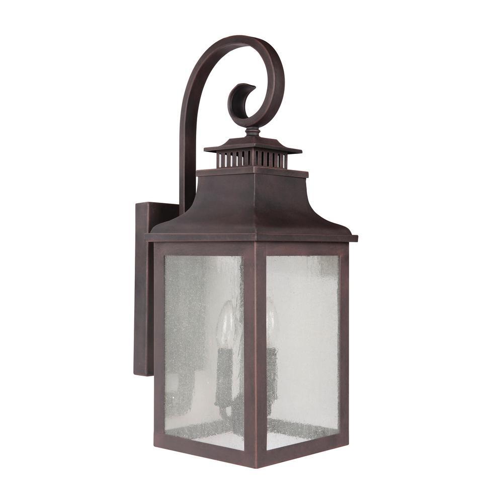 Y decor morgan 2 light rustic bronze outdoor wall lantern sconce