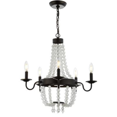 Nova 5-Light Bronze/Clear 21.5 in. Acrylic Beaded Chandelier