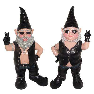 14.5 in. H Peace Sign Biker Dude and Babe the Biker Gnome in Leather Motorcycle Riding Gear 2-Piece Set Statues
