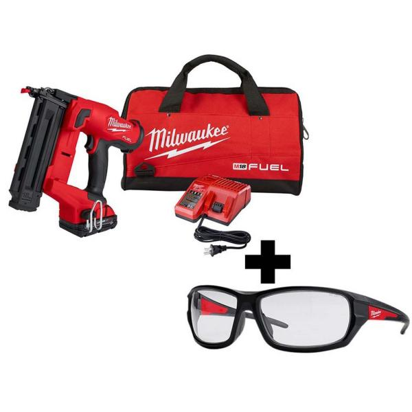M18 FUEL 18-Volt 18-Gauge Lithium-Ion Brushless Cordless Gen II Brad Nailer Kit and Clear Performance Safety Glasses