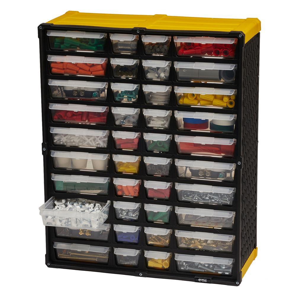 40-Compartment Small Parts Organizer, Yellow
