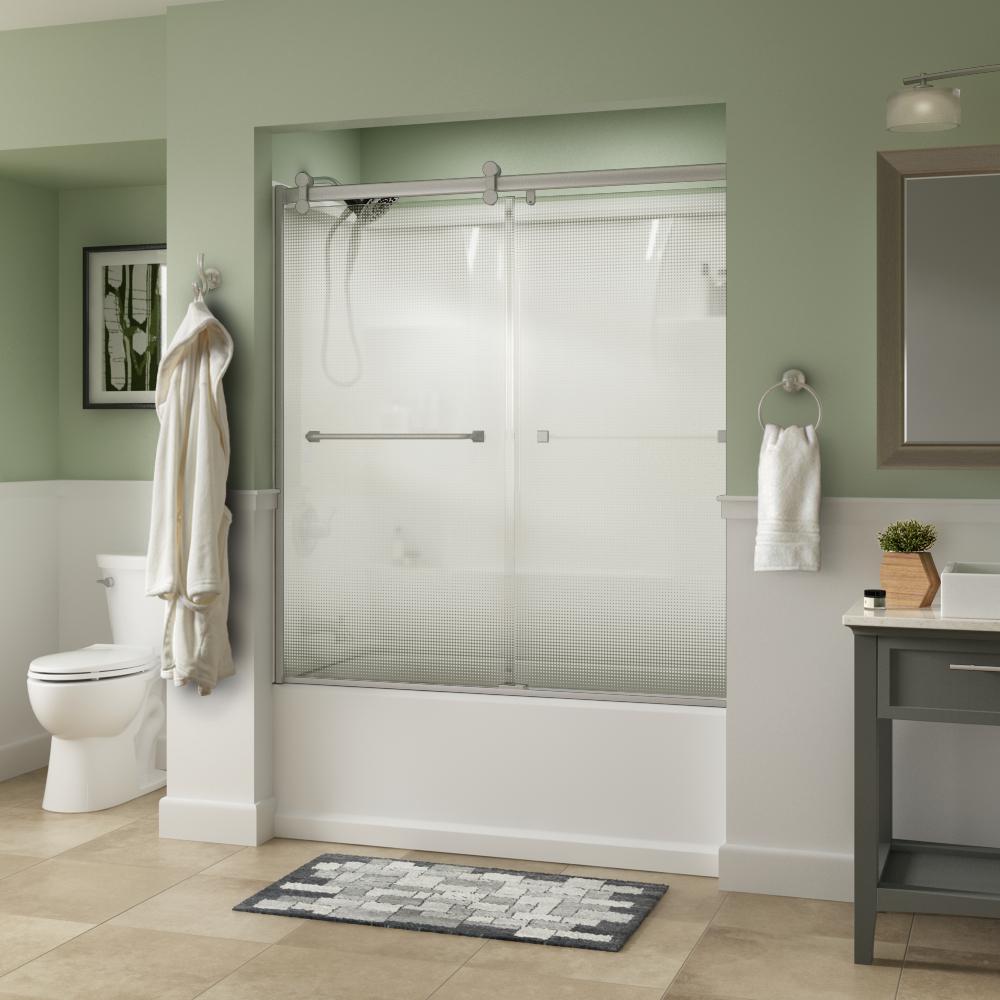 Everly 60 in. x 58-3/4 in. Semi-Frameless Contemporary Sliding Tub Door