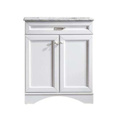 Naples 30 in. W x 22 in. D x 35 in. H Vanity in White with Marble Vanity Top in White with Basin