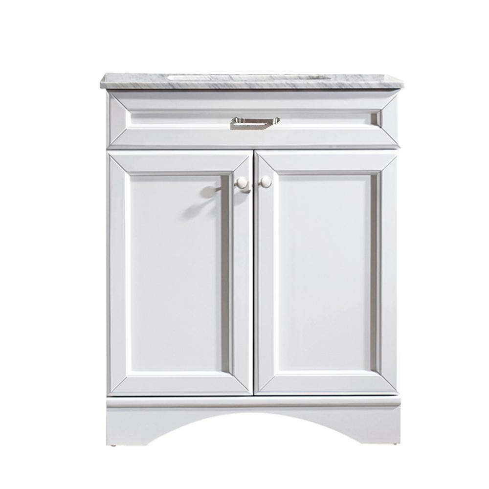 Vinnova Naples 30 in. W x 22 in. D x 35 in. H Vanity in White with Marble Vanity Top in White with Basin