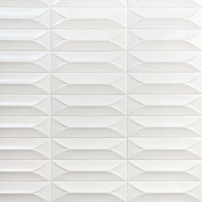 Vintage Bianco 3D 3 in. x 9 in. 10mm Polished Ceramic Subway Tile (0.78 sq. ft.)