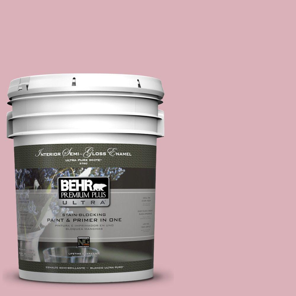 5 gal. #ICC-54 Peony Semi-Gloss Enamel Interior Paint and Primer in