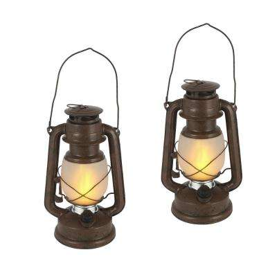 9.5 in. Brown FireGlow Hurricane Lantern (Set of 2)