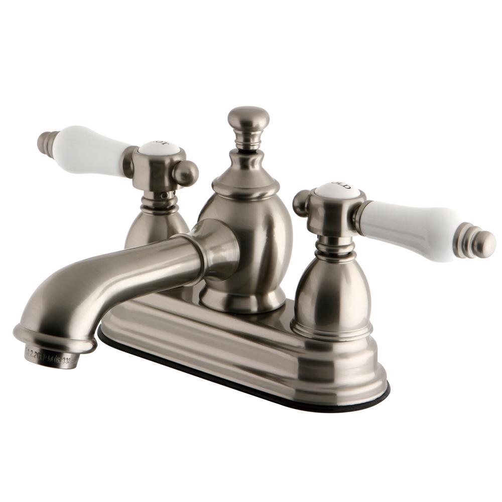 Vintage Porcelain 4 in. Centerset 2-Handle Mid-Arc Bathroom Faucet in Satin Nickel