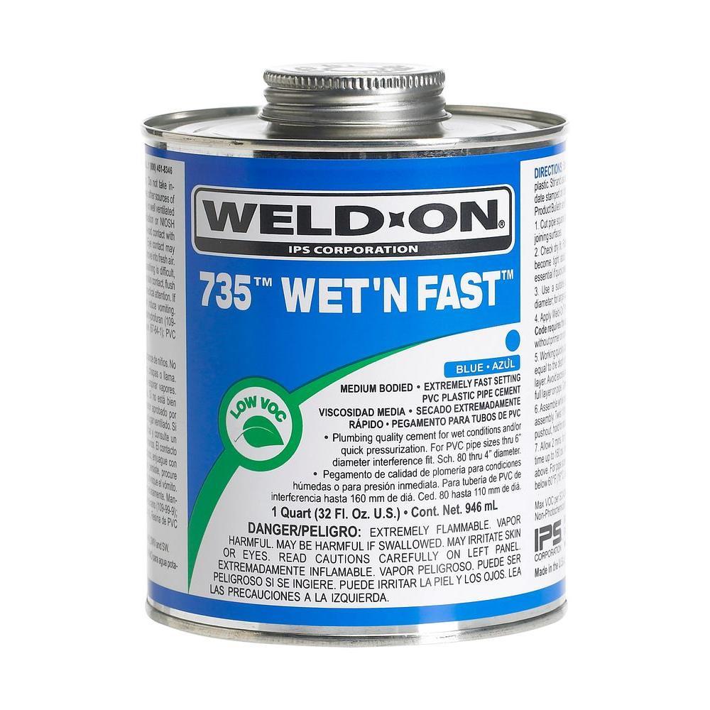 Weld-On Wet 'N Fast 32 oz. PVC 735 Cement - Blue