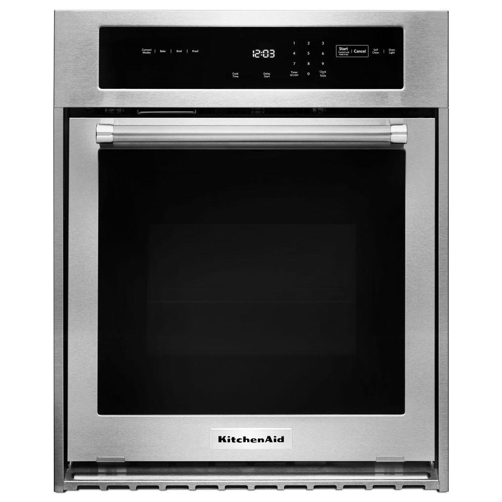 Superbe KitchenAid 24 In. Single Electric Wall Oven Self Cleaning With Convection  In Stainless Steel