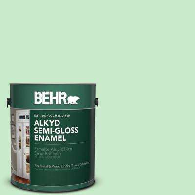 1 gal. #P390-2 Chilled Mint Semi-Gloss Enamel Alkyd Interior/Exterior Paint