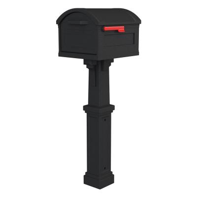 Grand Haven Extra Large, Plastic, Mailbox and Post Combo, Black