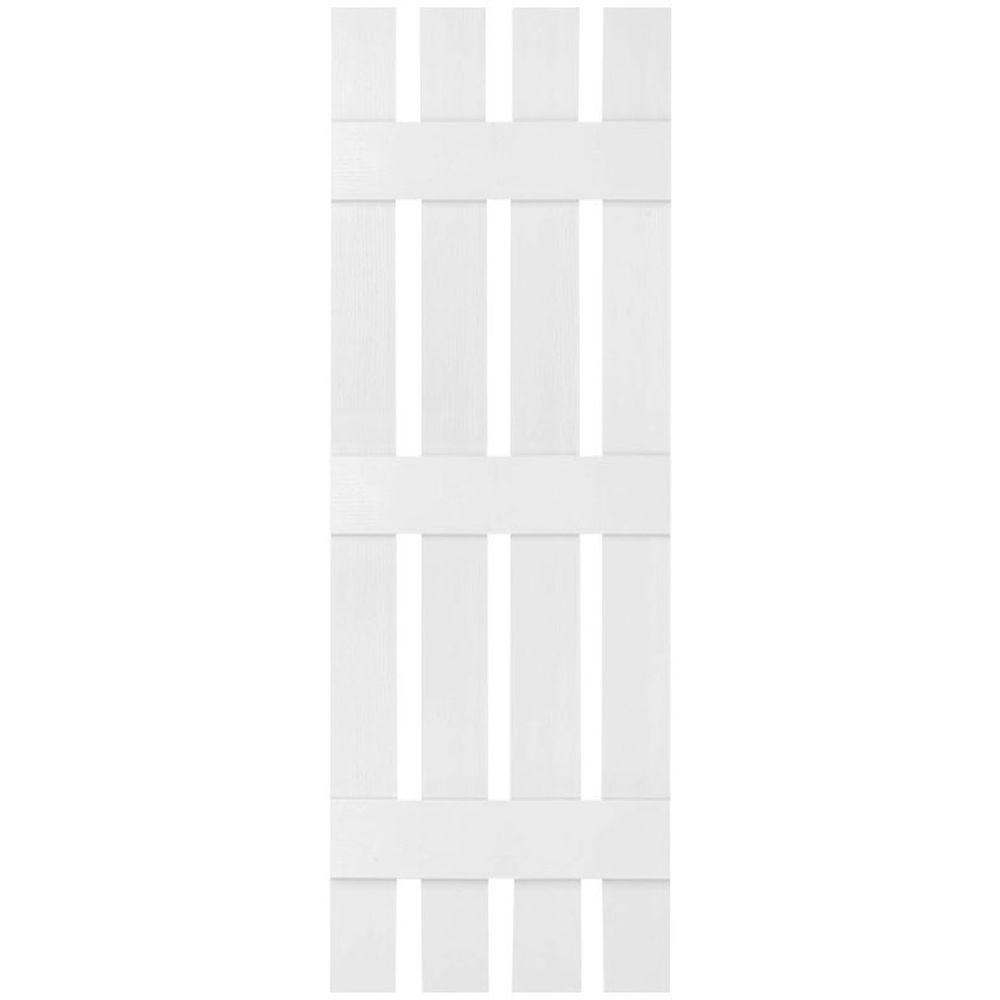 Ekena Millwork 16-1/4 in. x 85 in. Lifetime Vinyl Custom Four Board Spaced Board and Batten Shutters Pair Bright White