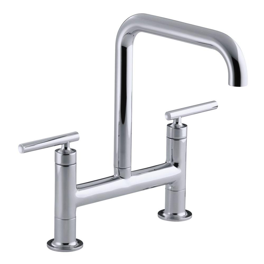Purist 12 in. 2-Handle Deck-Mount High-Arc Bridge Kitchen Faucet in Polished
